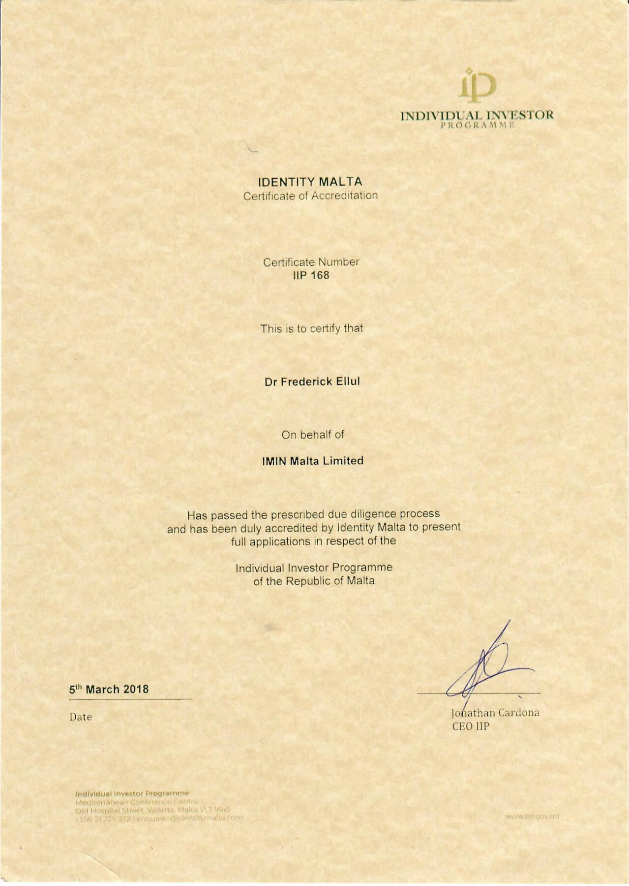 IMIN-Malta-IIP-Certificate - Immigrant Invest