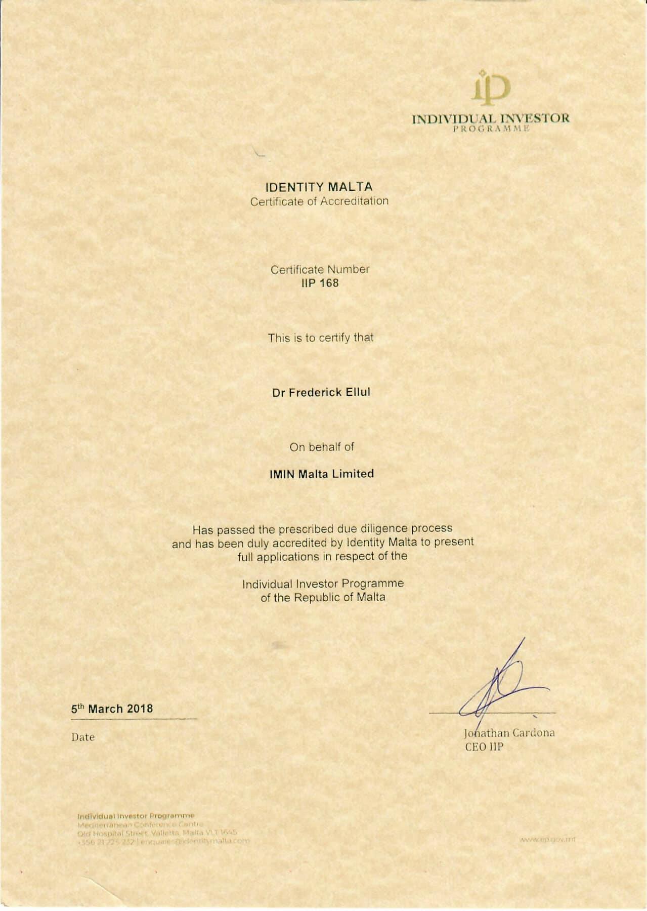 IMIN-Malta-IIP-Certificate - Иммигрант Инвест